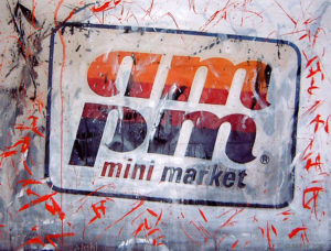 """Self-Portrait as Mini-Marketeer"" (closeup) by Mikirk 2005 (acrylic on billboard paper ~6'x5')"